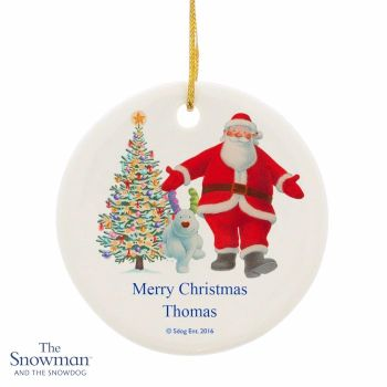 Personalised THE SNOWMAN & SNOWDOG Father Christmas Ceramic Round Christmas Tree Decoration