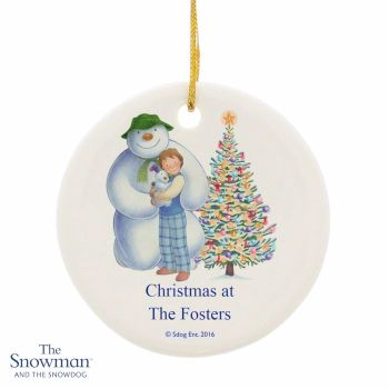 Personalised THE SNOWMAN & SNOWDOG Friends Ceramic Round Christmas Tree Decoration