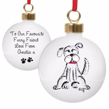 Personalised DOG CHRISTMAS BAUBLE Ceramic Christmas Tree Bauble Decoration