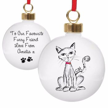 Personalised CAT CHRISTMAS BAUBLE Ceramic Christmas Tree Bauble Decoration