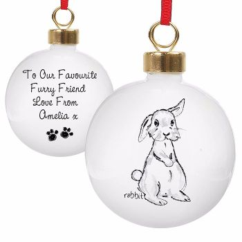 Personalised RABBIT CHRISTMAS BAUBLE Ceramic Christmas Tree Bauble Decoration