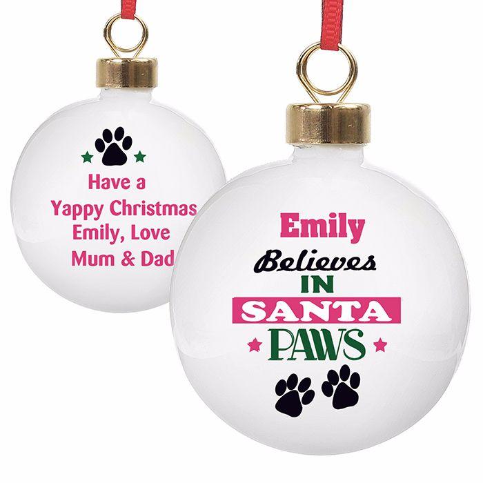 Personalised SANTA PAWS PET CHRISTMAS BAUBLE Ceramic Christmas Tree Bauble