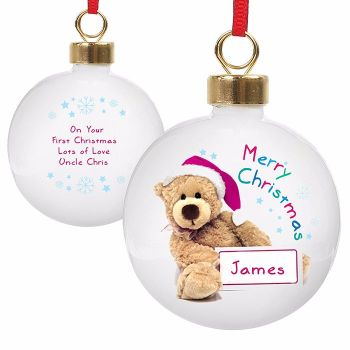 Personalised TEDDY CHRISTMAS BAUBLE Ceramic Christmas Tree Bauble Decoration