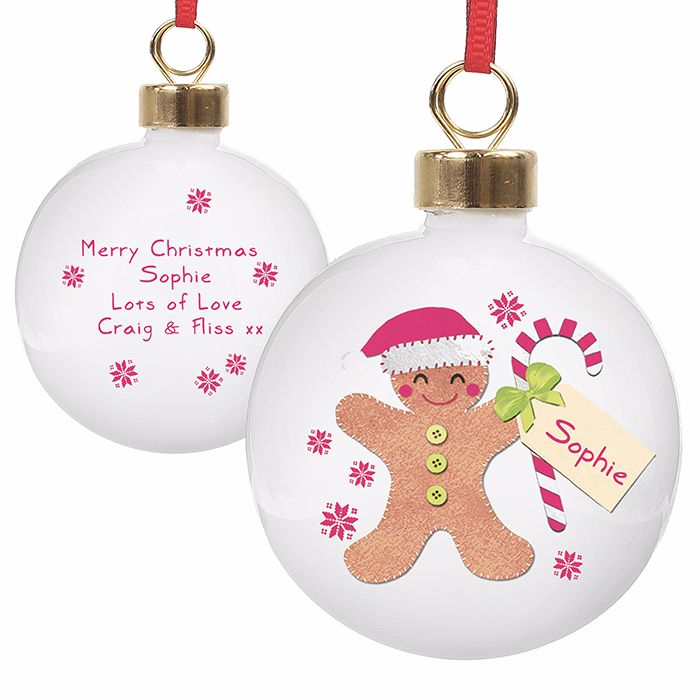 Personalised GINGERBREAD MAN CHRISTMAS BAUBLE Ceramic Christmas Tree Bauble