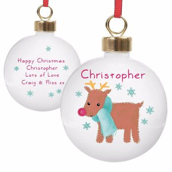 Personalised REINDEER CHRISTMAS BAUBLE Ceramic Christmas Tree Bauble Decoration