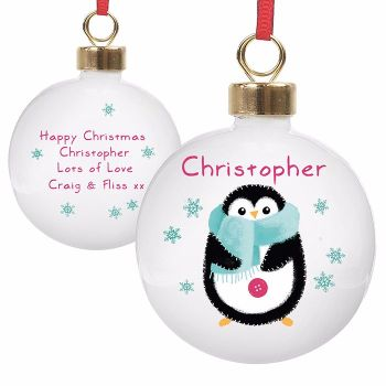 Personalised PENGUIN CHRISTMAS BAUBLE Ceramic Christmas Tree Bauble Decoration