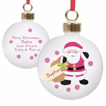 Personalised SANTA CHRISTMAS BAUBLE Ceramic Christmas Tree Bauble Decoration