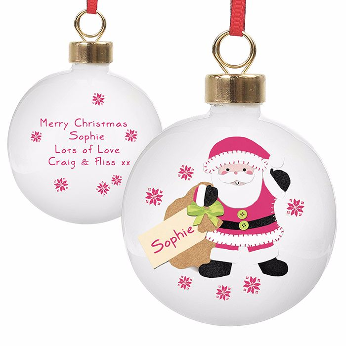 Personalised SANTA CHRISTMAS BAUBLE Ceramic Christmas Tree Bauble Decoratio