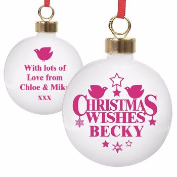 Personalised CHRISTMAS WISHES CHRISTMAS BAUBLE Ceramic Christmas Tree Bauble Decoration