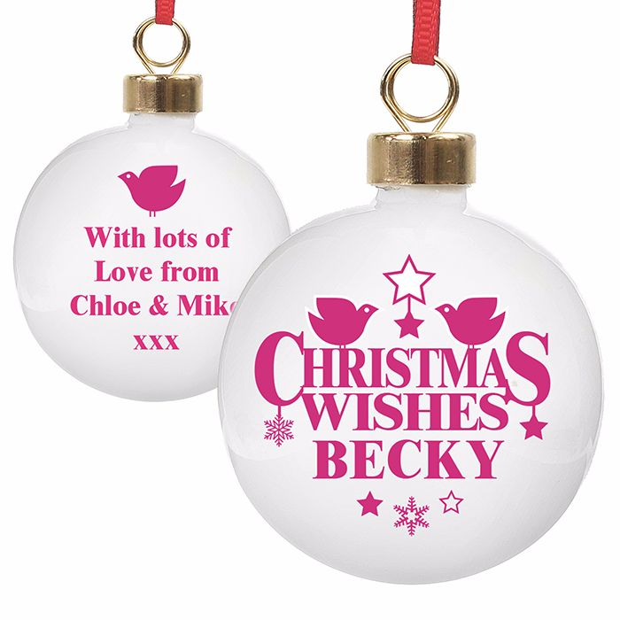 Personalised CHRISTMAS WISHES CHRISTMAS BAUBLE Ceramic Christmas Tree Baubl