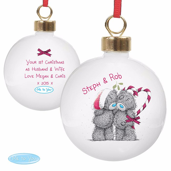 Personalised ME TO YOU COUPLES BAUBLE Ceramic Christmas Tree Bauble Decorat