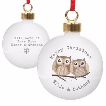 Personalised CHRISTMAS OWLS CHRISTMAS BAUBLE Ceramic Christmas Tree Bauble Decoration