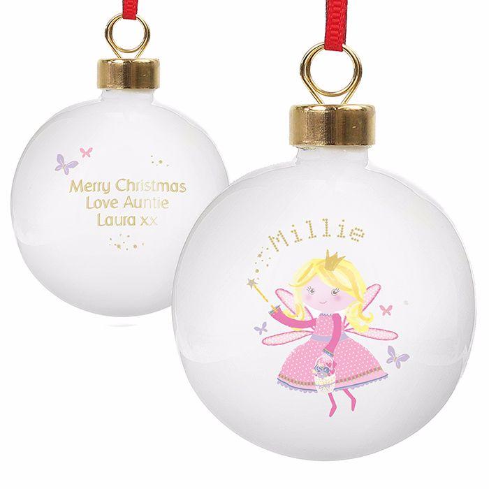 Personalised CHRISTMAS FAIRY CHRISTMAS BAUBLE Ceramic Christmas Tree Bauble