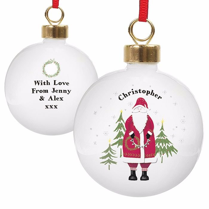 Personalised Father Christmas Christmas Bauble Ceramic Christmas Tree Bauble Decoration