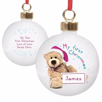 Personalised TEDDY 1st CHRISTMAS BAUBLE Ceramic Christmas Tree Bauble Decoration