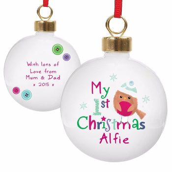 Personalised ROBIN 1st CHRISTMAS BAUBLE Ceramic Christmas Tree Bauble Decoration