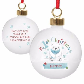 Personalised MY 1st CHRISTMAS BAUBLE Ceramic Christmas Tree Bauble Decoration
