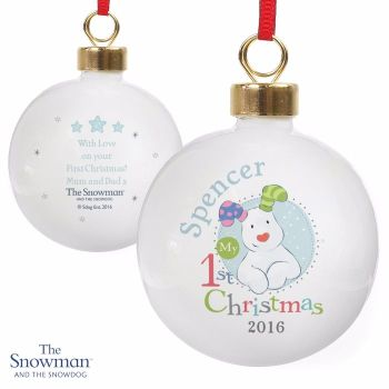 Personalised THE SNOWMAN & SNOWDOG MY 1st CHRISTMAS Ceramic Blue Tree Bauble