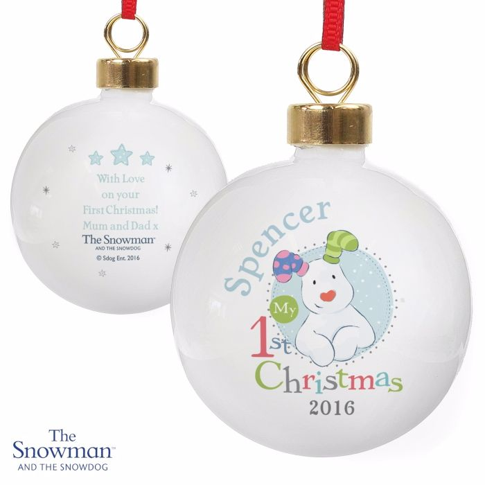 Personalised THE SNOWMAN & SNOWDOG MY 1st CHRISTMAS Ceramic Blue Tree Baubl