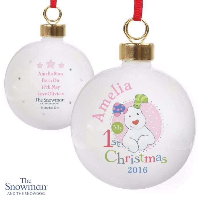 Personalised THE SNOWMAN & SNOWDOG MY 1st CHRISTMAS Ceramic Pink Tree Baubl