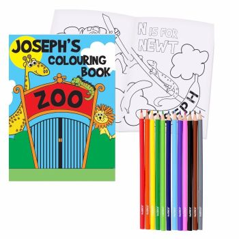 Personalised Zoo Colouring Book & Pencils
