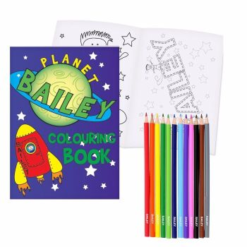 Personalised Space Colouring Book & Pencils