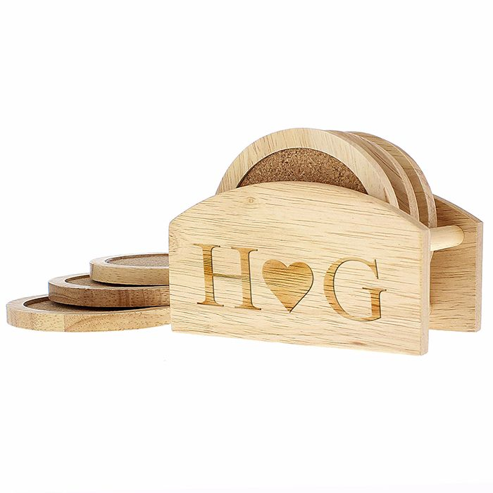 Personalised Monogram Wooden Coaster Set