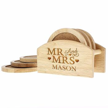 Personalised MR & MRS Wooden Coaster Set
