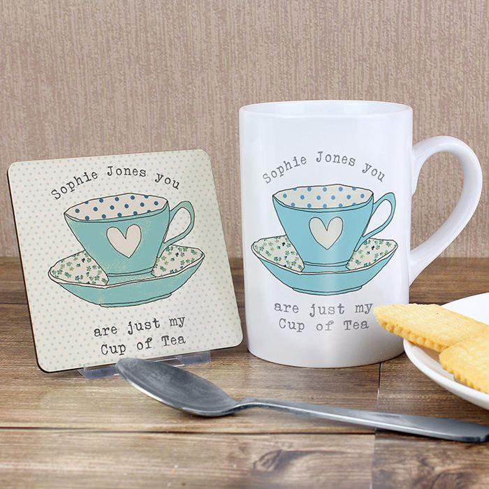 Personalised Tea Cup Coaster & Mug
