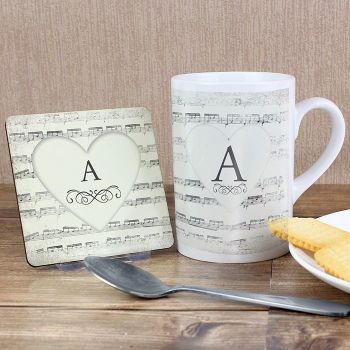 Personalised Manuscript Coaster & Mug