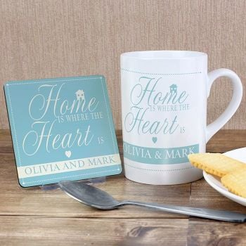 Personalised Home is Where the Heart is Coaster & Mug