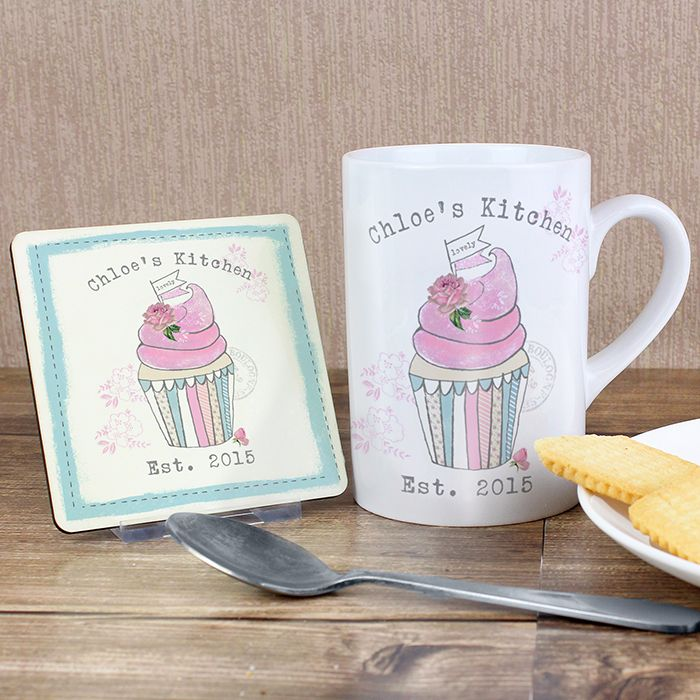 Personalised Cupcake Coaster & Mug