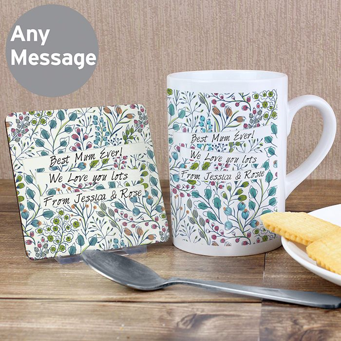 Personalised Floral Coaster & Mug