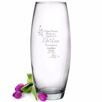 Personalised LIFE & LOVE Glass Vase / Grave Vase