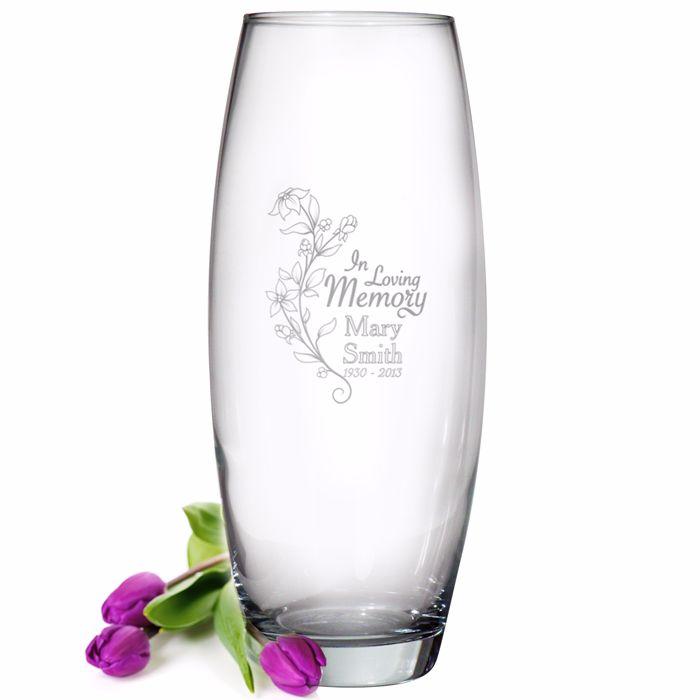 Personalised In Loving Memory Glass Vase / Grave Vase