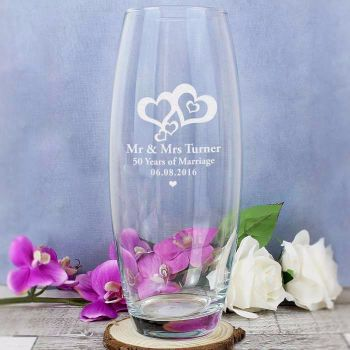 Personalised LOVE HEARTS Glass Vase Engagement, Wedding, Anniversary, Love Gift