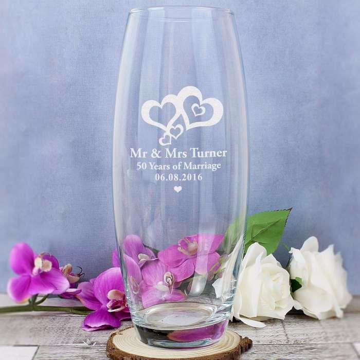 Personalised LOVE HEARTS Glass Vase Engagement, Wedding, Anniversary, Love