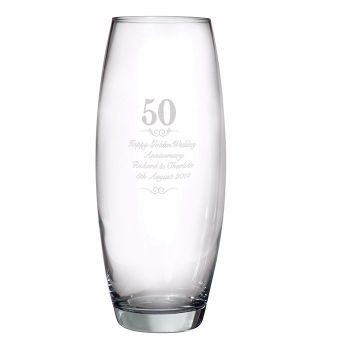 Personalised 50th Wedding Anniversary Glass Vase, Golden Wedding Anniversary