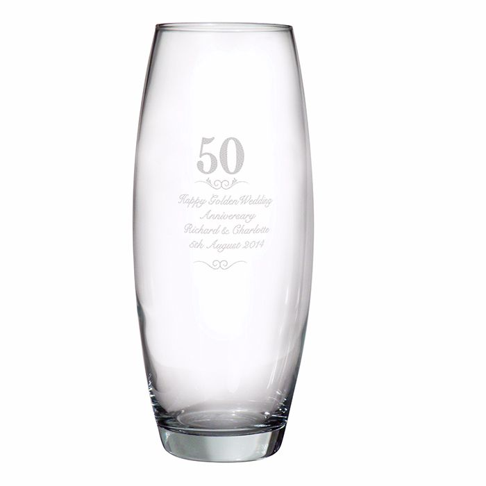 Personalised 50th Wedding Anniversary Glass Vase, Golden Wedding Anniversar