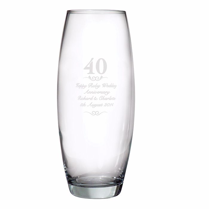 Personalised 40th Wedding Anniversary Glass Vase, Ruby Wedding Anniversary