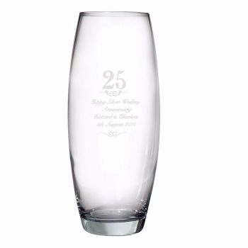 Personalised 25th Wedding Anniversary Glass Vase, Silver Wedding Anniversary