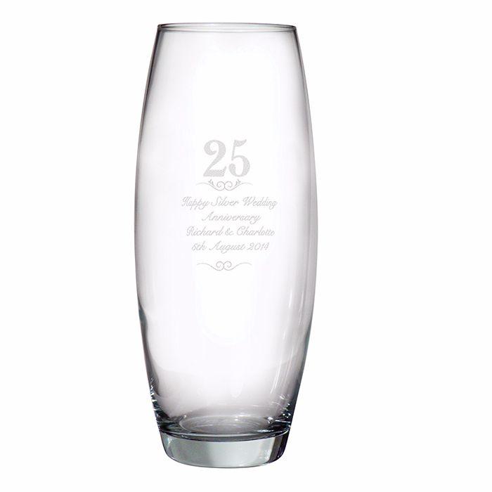 Personalised 25th Wedding Anniversary Glass Vase Silver Wedding