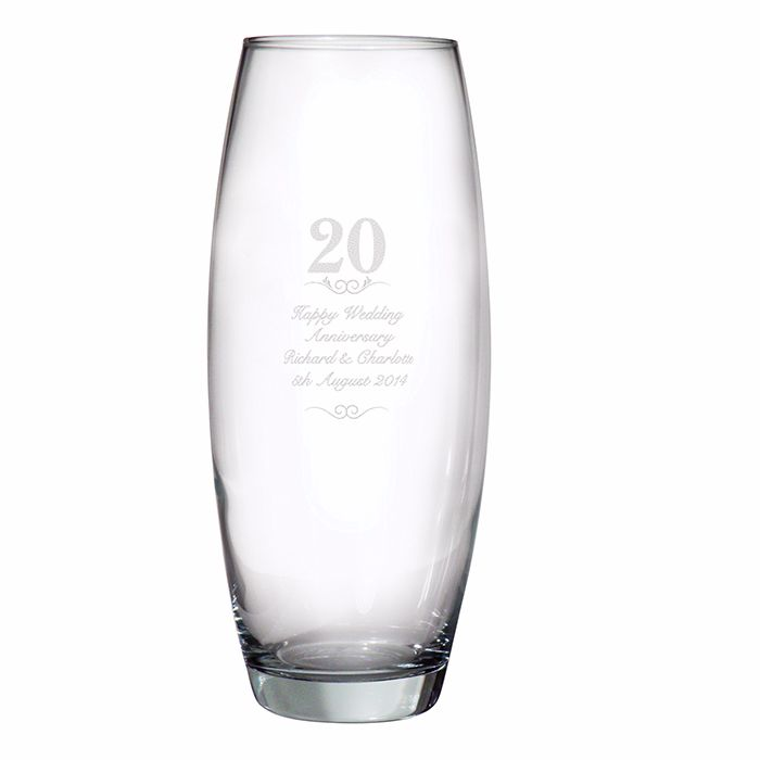 Personalised 20th Wedding Anniversary Glass Vase, 20 Years Celebration