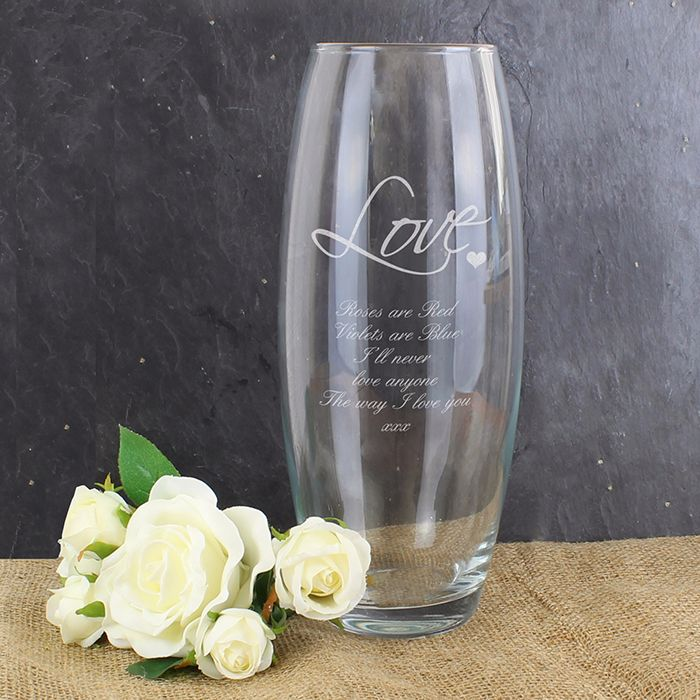 Personalised LOVE Glass Vase Wedding Engagement Anniversary House Warming