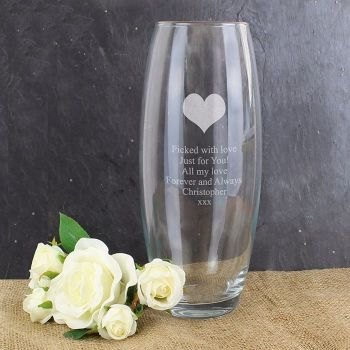 Personalised HEART Glass Vase Wedding Engagement Anniversary House Warming