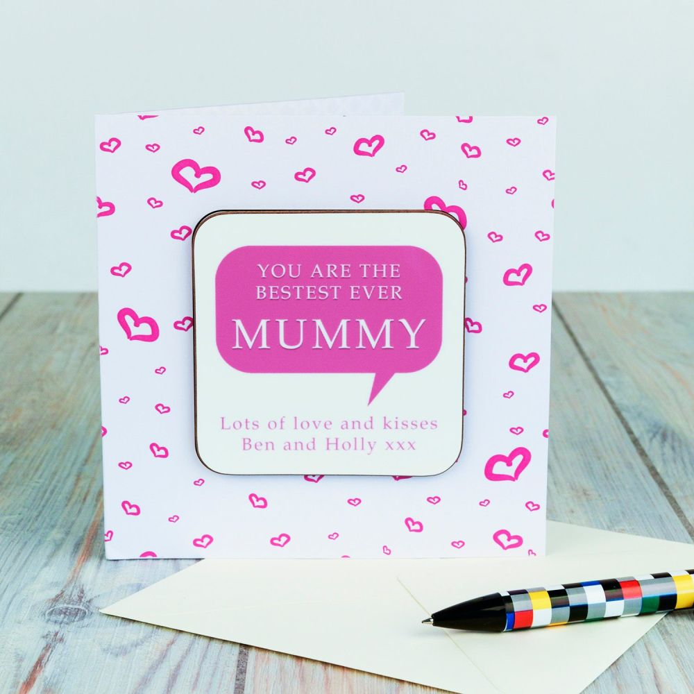Personalised BESTEST MUMMY CARD & COASTER SET