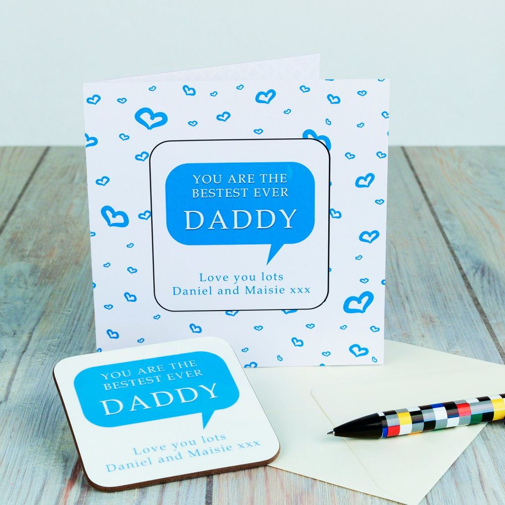 Personalised BESTEST DADDY CARD & COASTER SET