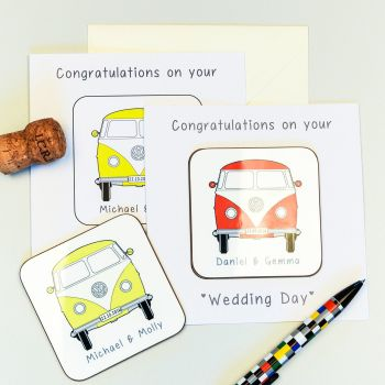 Personalised WEDDING CARD & COASTER SET - VW Camper