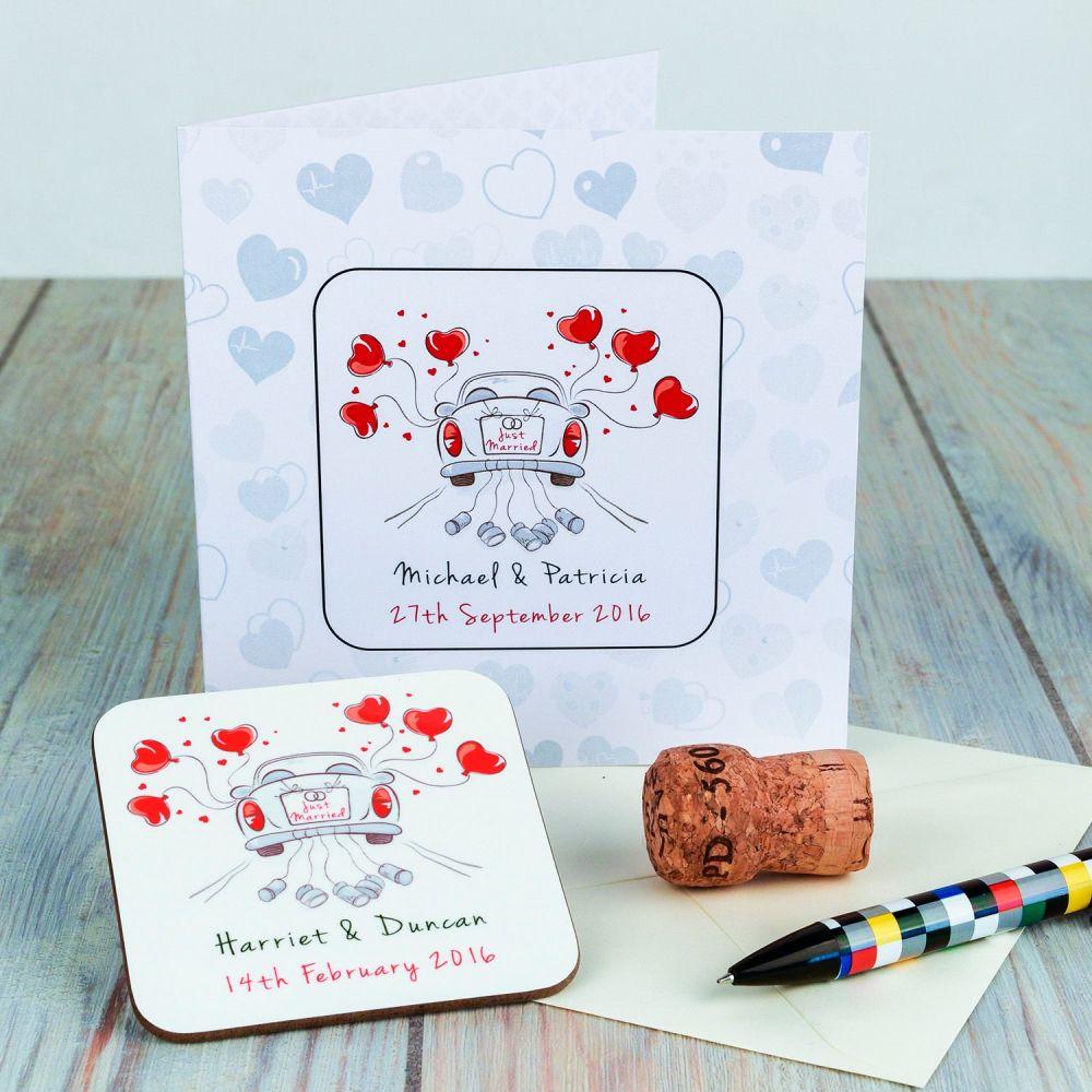 Personalised JUST MARRIED WEDDING CARD & COASTER SET