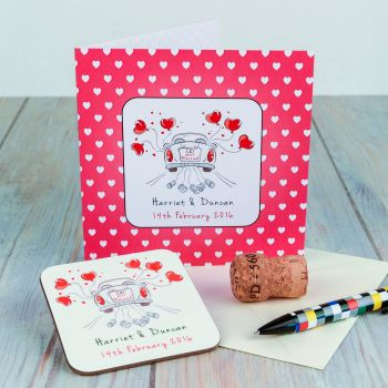 Personalised JUST MARRIED WEDDING CARD & COASTER SET